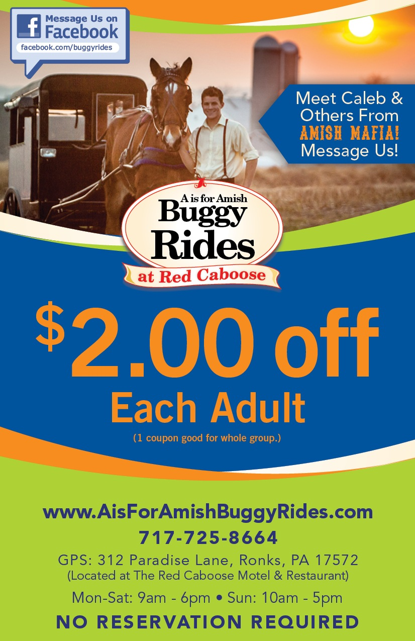 Coupon for Amish Buggy Ride at the Red Caboose Motel